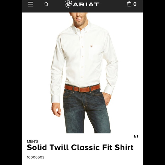 ARIAT SOLID WHITE TWILL CLASSIC FIT MENS SHIRT 10000503